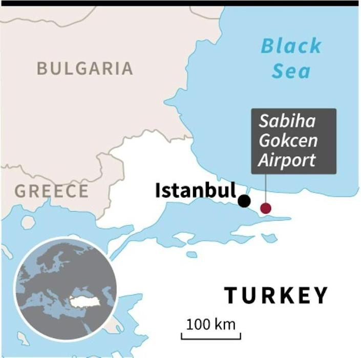 Map locating the Sabiha Gokcen airport in Istanbul, where a plane skidded off the runway. (AFP Photo/)