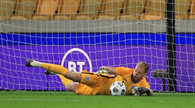 England's Aaron Ramsdale saves a penalty from Turkey's Halil Dervisoglu
