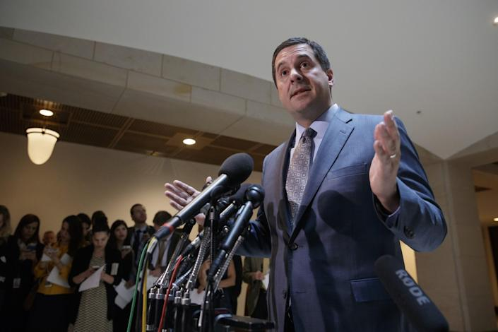House Intelligence Committee Chairman Devin Nunes, R-Calif., announces he will hold an open hearing to investigate alleged Russian interference in the 2016 election on Capitol Hill March 7, 2017. (Photo: J. Scott Applewhite/AP)