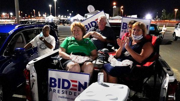 PHOTO: Supporters rally outside the venue where Democratic presidential candidate former Vice President Joe Biden will speak, during the final day of the Democratic National Convention, Aug. 20, 2020, at the Chase Center in Wilmington, Del. (Carolyn Kaster/AP)