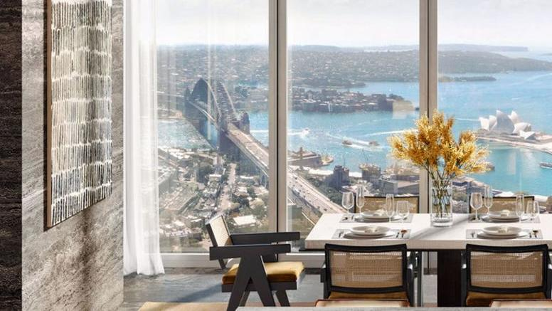 The view out to Sydney Harbour Bridge from the penthouse at One Sydney Harbour building.