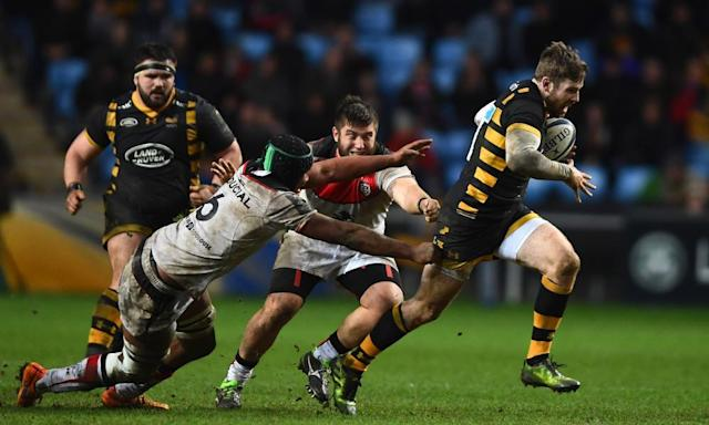 "<span class=""element-image__caption"">Elliot Daly of Wasps breaks through the tackle of Toulouse's Thierry Dusautoir on his way to scoring a solo try from halfway during their Champions Cup pool match at the Ricoh Arena in January. Wasps won 17-14.</span> <span class=""element-image__credit"">Photograph: Mike Hewitt/Getty Images</span>"