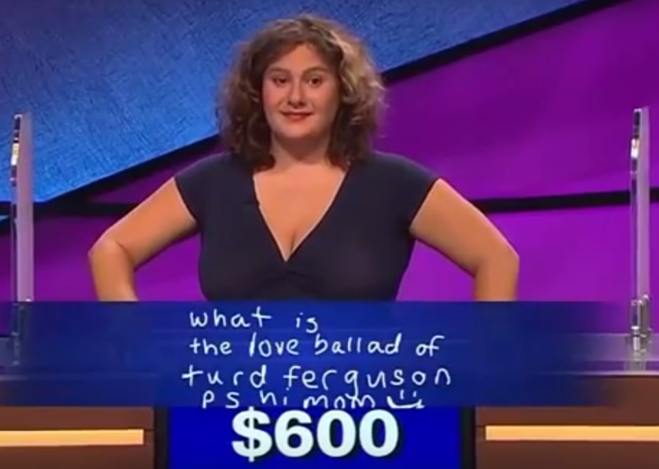 """<p>Speaking of """"Saturday Night Live"""" sketches, Talia Lavin made sketch comedy fans chuckle with a Final Jeopardy answer that referenced a memorable line delivered by Norm Macdonald's Burt Reynolds to Will Ferrell's Alex Trebek. It was not a winning answer, but sometimes you have to laugh to keep from crying.</p>"""