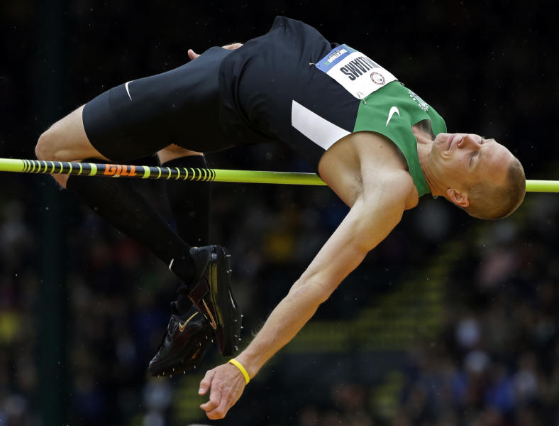 Jesse Williams participates in the men's high jump finals at the U.S. Olympic Track and Field Trials Monday, June 25, 2012, in Eugene, Ore. (AP Photo/Eric Gay)