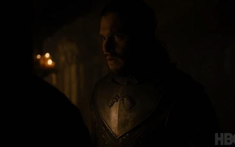 Jon Snow in Winterfell, learning the truth about his parents - Credit: HBO