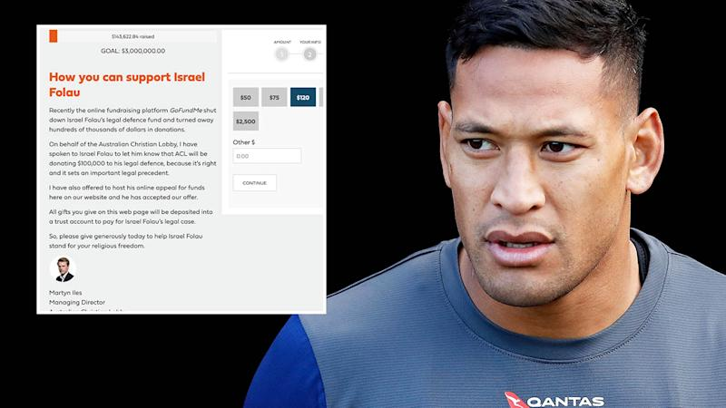 The new Israel Folau fund. (Photo by Jason McCawley/Getty Images)