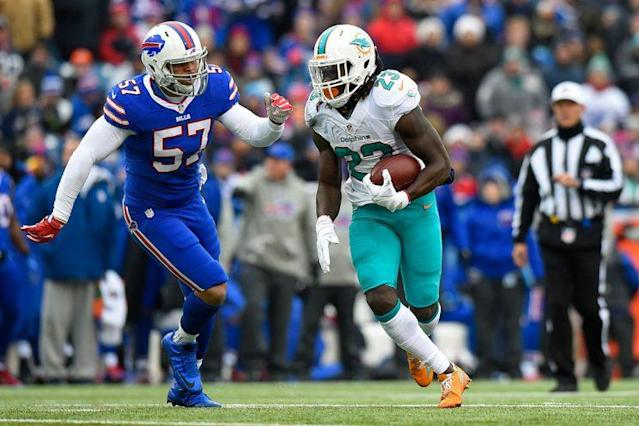 Jay Ajayi delivered three 200-yard performances last season, placing him in distinguished company. (Photo by Rich Barnes/Getty Images)