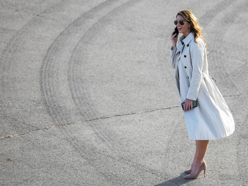 Hope Hicks is back on Air Force One two weeks after catching coronavirus. (REUTERS)