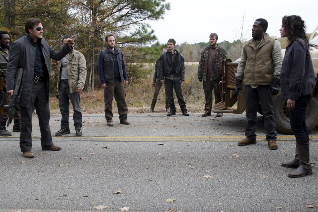 "Shumpert (Travis Love), The Governor (David Morrissey), Allen (Daniel Thomas May) and Karen (Melissa Ponzio) in ""The Walking Dead"" Season 3 Finale, ""Welcome to the Tombs."""