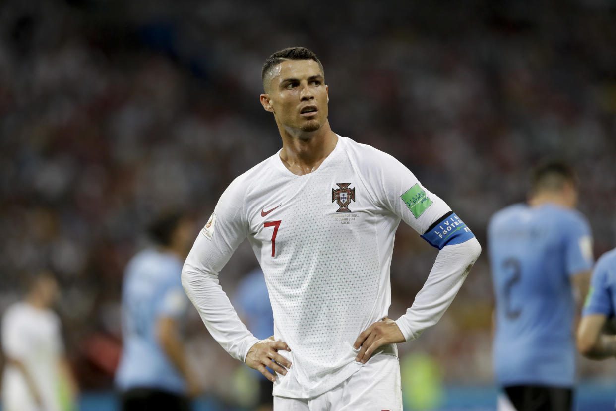 Portugal's Cristiano Ronaldo released a statement denying allegations that he raped an American woman at a Las Vegas hotel in 2009. (AP Photo/Andre Penner)