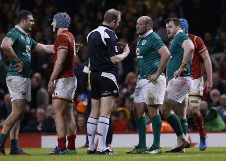Ireland's Rory Best speaks with referee Wayne Barnes
