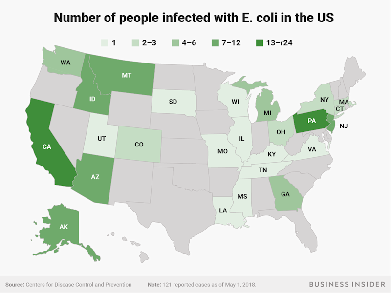 People infected with E coli in the US May 2 CDC
