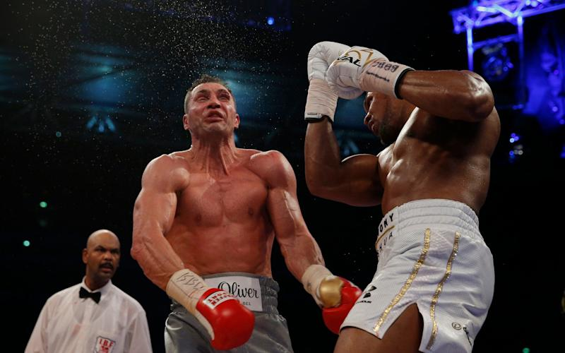 Anthony Joshua's venonmous uppercut began the end phase for Klitschko - Credit: Reuters/Andrew Couldridge