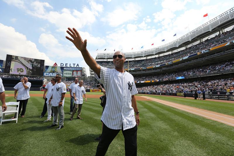 Derek Jeter returns to Yankee Stadium on Sunday as New York retires his No. 2 jersey. (John Munson/The Star-Ledger via AP, Pool)