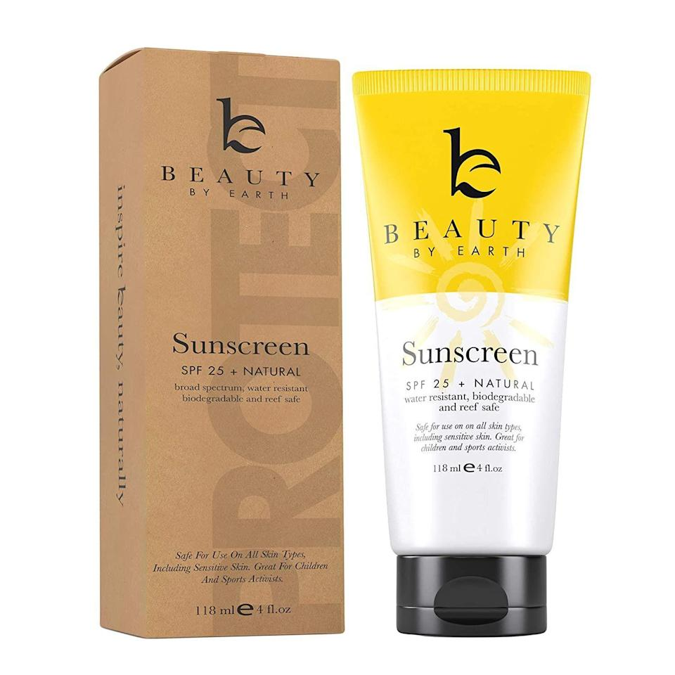 """<p><strong>Beauty by Earth</strong></p><p>walmart.com</p><p><strong>$16.99</strong></p><p><a href=""""https://go.redirectingat.com?id=74968X1596630&url=https%3A%2F%2Fwww.walmart.com%2Fip%2F279447375&sref=https%3A%2F%2Fwww.thepioneerwoman.com%2Fbeauty%2Fskin-makeup-nails%2Fg32381661%2Fbest-natural-sunscreen%2F"""" rel=""""nofollow noopener"""" target=""""_blank"""" data-ylk=""""slk:Shop Now"""" class=""""link rapid-noclick-resp"""">Shop Now</a></p><p>This sunscreen is made with natural, moisturizing ingredients like coconut oil, shea butter, and aloe vera. It's water-resistant for up to 80 minutes. </p>"""