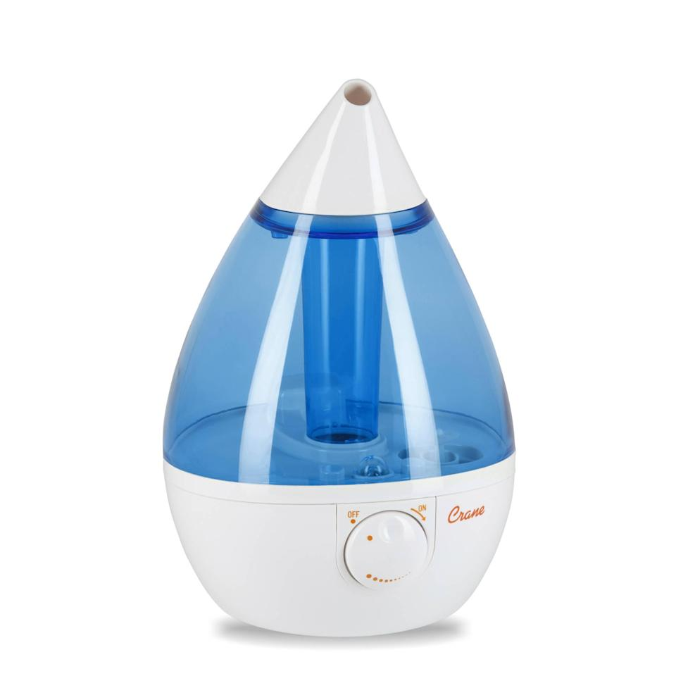 "<strong>The Award-Winning Humidifier</strong><br>The drop-shaped design of this PTPA (Parent Tested Parent Approved) award winner is designed to provide a steady stream of soothing, cool mist for up to 24-hours.<br><br><strong>The Hype:</strong> 4.3 out of 5 stars on <a href=""https://www.walmart.com/ip/Crane-Drop-Ultrasonic-Cool-Mist-Humidifier-Blue-White/10750083"" rel=""nofollow noopener"" target=""_blank"" data-ylk=""slk:Walmart"" class=""link rapid-noclick-resp"">Walmart</a>.<br><br><strong>Air Aficionados Say:</strong> ""Best humidifier I've ever purchased! No filter to change, easy to fill, absolutely quiet operation. The top cone allows me to direct the mist where I want it to go. Easy to clean."" — Birdie, Walmart Review<br><br><strong>Crane USA</strong> Drop Ultrasonic Cool Mist Humidifier, $, available at <a href=""https://go.skimresources.com/?id=30283X879131&url=https%3A%2F%2Ffave.co%2F2IJtjaa"" rel=""nofollow noopener"" target=""_blank"" data-ylk=""slk:Walmart"" class=""link rapid-noclick-resp"">Walmart</a>"