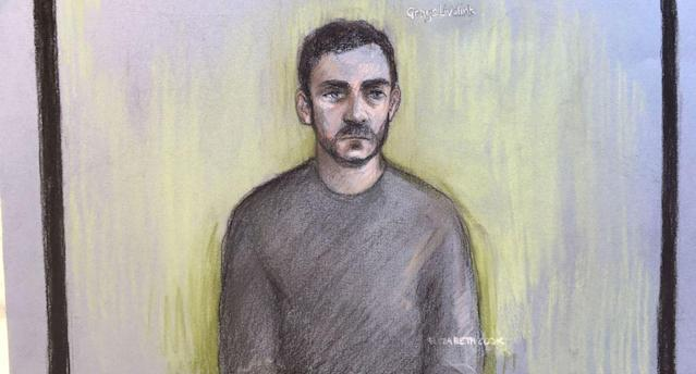 An artist's sketch of Maurice Robinson during an earlier court appearance (PA)
