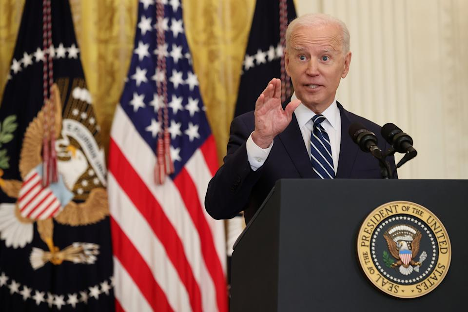 US President Joe Biden answers questions during the first news conference of his presidency in the East Room of the White House. Source: Getty Images
