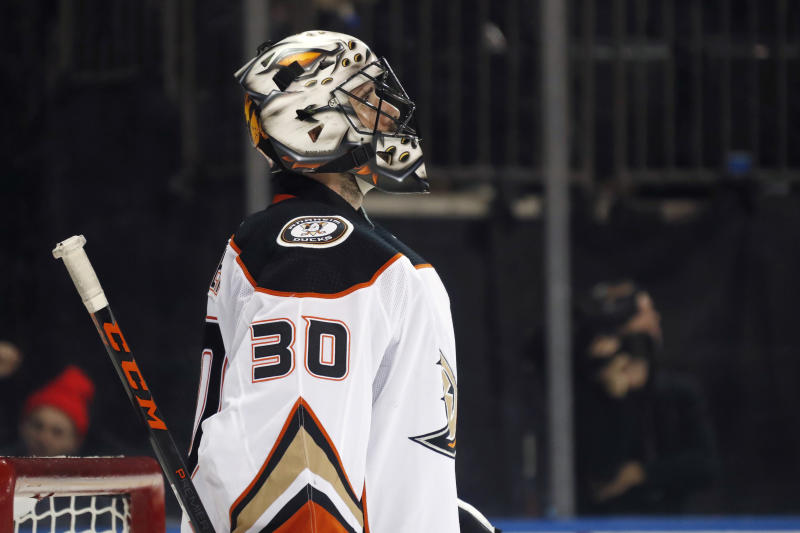 Anaheim Ducks goaltender Ryan Miller (30) reacts after giving up a goal to New York Rangers left wing Chris Kreider during the second period of an NHL hockey game, Sunday, Dec. 22, 2019, in New York. (AP Photo/Kathy Willens)