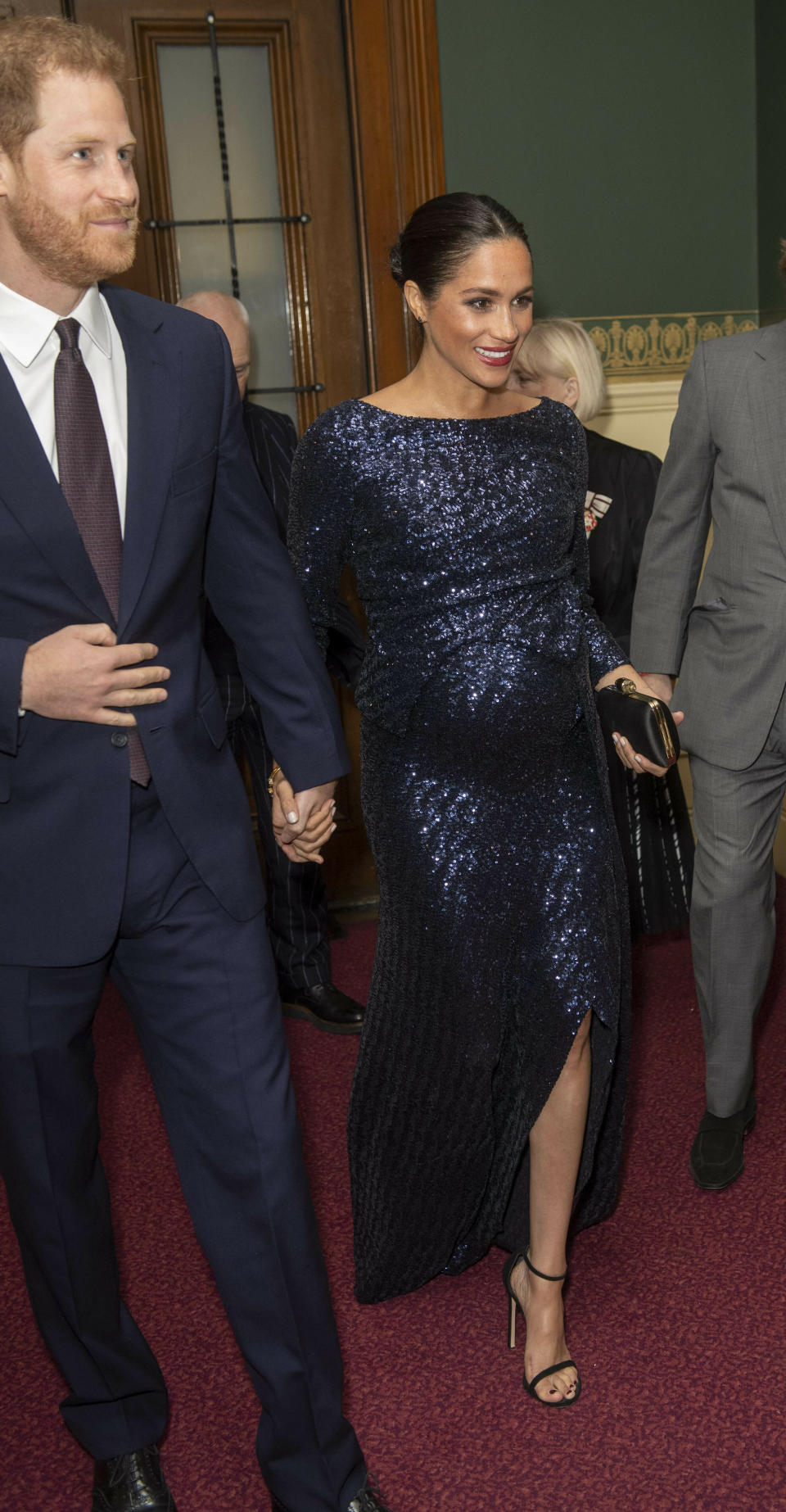 Photo by: KGC-375/STAR MAX/IPx 2019 1/16/19 Prince Harry, The Duke of Sussex and Meghan, The Duchess of Sussex at the premiere of Cirque du Soleil's Totem in support of Sentebale at the Royal Albert Hall on Wednesday 16th January. The evening will raise awareness and funds for Sentebale's work with children and young people affected by HIV in southern Africa. Prince Harry and Meghan met representatives from Sentebale, Cirque du Soleil and Totem, including members of the cast.