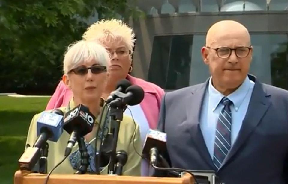 Ina and David Steiner, accompanied by their attorney Rosemary Scapicchio, background, accuse eBay of a terror campaign.