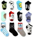 """<p><strong>Planet Sox</strong></p><p>amazon.com</p><p><strong>$42.98</strong></p><p><a href=""""https://www.amazon.com/dp/B0775X2H2W?tag=syn-yahoo-20&ascsubtag=%5Bartid%7C10055.g.29429168%5Bsrc%7Cyahoo-us"""" rel=""""nofollow noopener"""" target=""""_blank"""" data-ylk=""""slk:Shop Now"""" class=""""link rapid-noclick-resp"""">Shop Now</a></p><p>The force is strong with this sock set that includes 12 different Star Wars designs. On any given day, you can decide whether you feel like more of a Han Solo, a Luke Skywalker or even a Wookie and dress your feet accordingly. </p>"""