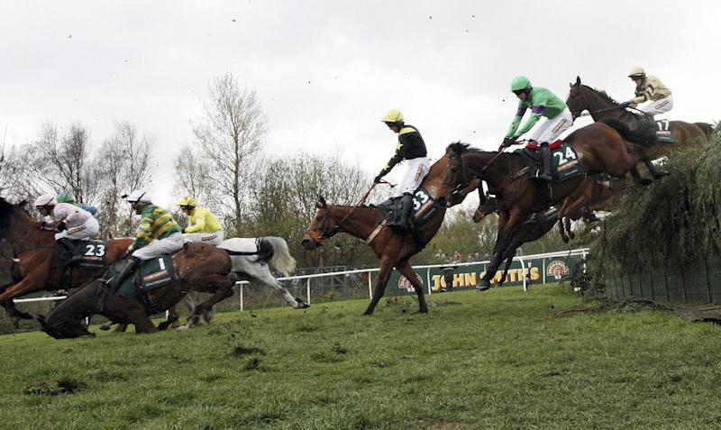 Synchronized ridden by Tony McCoy, left, falls after jumping Becher's Brook during the Grand National at Aintree Racecourse, Liverpool, England, Saturday April 14, 2012. Pre-race favorite Synchronised died Saturday after collapsing during the world's toughest steeplechase, which was won by Neptune Collonges in one of the race's closest finishes. (AP Photo/Scott Heppell)