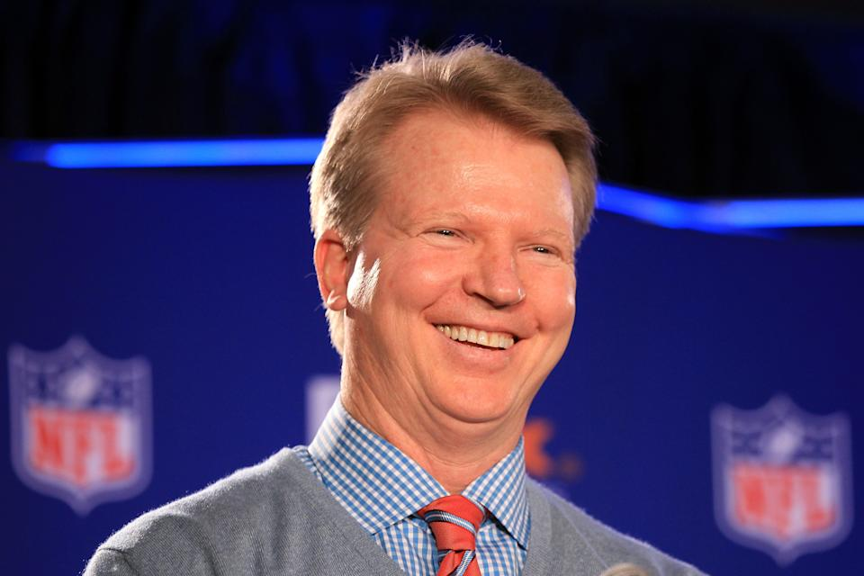 CBS NFL analyst Phil Simms speaks in the Super Bowl XLVI Media Center at the J.W. Marriott Indianapolis on Feb. 1, 2012 in Indianapolis.