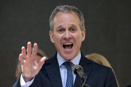 New York State attorney general Eric Schneiderman speaks a rally to celebrate the passage of the minimum wage for fast-food workers by the New York State Fast Food Wage Board in New York