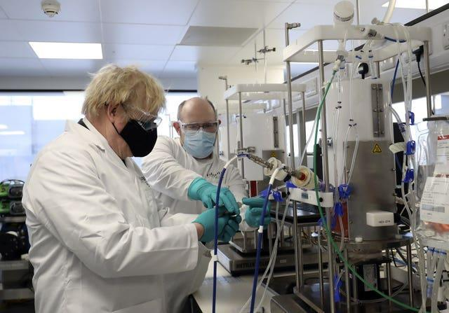 Boris Johnson visits a vaccine manufacturing facility in Teesside