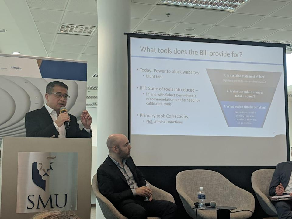 Senior Minister of State for Law and Health Edwin Tong speaking about the proposed bill at the Truth and Lies: Trust in Times of Information Disorder forum held at the Singapore Management University on 3 April, 2019. (PHOTO: Yahoo News Singapore)