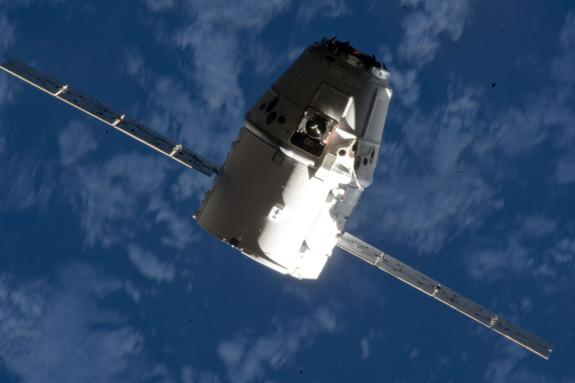 The SpaceX Dragon commercial cargo craft makes its relative approach to the International Space Station prior to grapple by the station's Canadarm2 robotic arm, controlled by Expedition 33 crew members. This image was taken Oct. 10, 2012.
