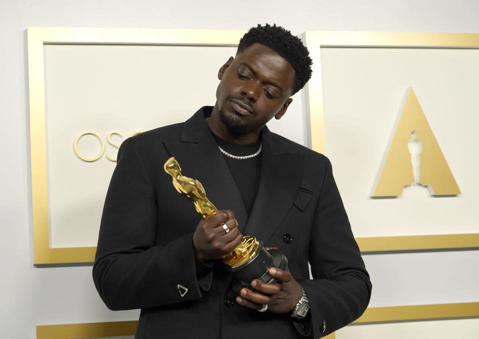 "Daniel Kaluuya, winner of the award for best actor in a supporting role for ""Judas and the Black Messiah,"" poses in the press room at the Oscars on Sunday, April 25, 2021, at Union Station in Los Angeles. (AP Photo/Chris Pizzello, Pool)"