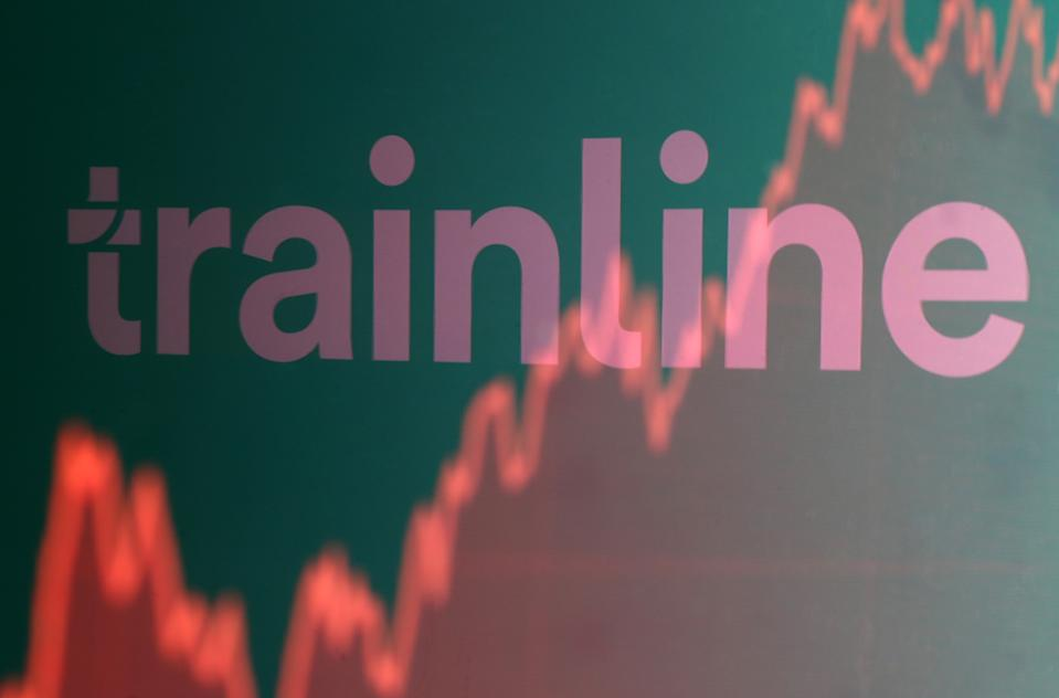 Trainline logo is reflected on a screen-displayed stock graph in this picture illustration June 20, 2019.  REUTERS/Dado Ruvic/Illustration