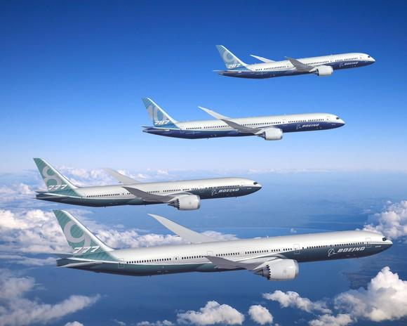 Boeing 777 and 787 twin-aisle planes in flight.