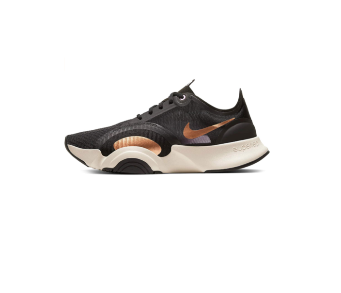 """<p><strong>nike</strong></p><p>amazon.com</p><p><strong>$145.00</strong></p><p><a href=""""https://www.amazon.com/Nike-Superrep-Womens-Training-Cj0860-186/dp/B08GJ3S4W5/?tag=syn-yahoo-20&ascsubtag=%5Bartid%7C2140.g.19966106%5Bsrc%7Cyahoo-us"""" rel=""""nofollow noopener"""" target=""""_blank"""" data-ylk=""""slk:Shop Now"""" class=""""link rapid-noclick-resp"""">Shop Now</a></p><p>These shoes are <em>comfortable</em>. The bottoms have flexible foam cushioning that makes them best for doing HIIT workouts in your room or streaming fitness classes from your apartment roof. Basically, you won't feel like your feet are slamming onto hard surfaces. (Plus, they're veeery cute.) </p><p><strong>Rave review:</strong> """"I am wearing these shoes while I teach Jazzercise classes and they are phenomenal. If you need something to support you while you jump, pivot, plank or push-up, I can't recommend these enough. They are lightweight, yet supportive through the heel and ball of the foot especially during directional changes, and they look super cool."""" <em><br>—</em>K.A., <em>amazon.com</em></p>"""