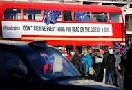 """An anti-Brexit campaign bus, with an advert calling for a """"People's Vote"""" is driven through central London"""