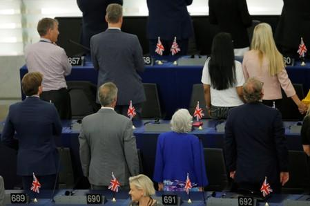 Brexit Party MEPs turn their backs on EU anthem