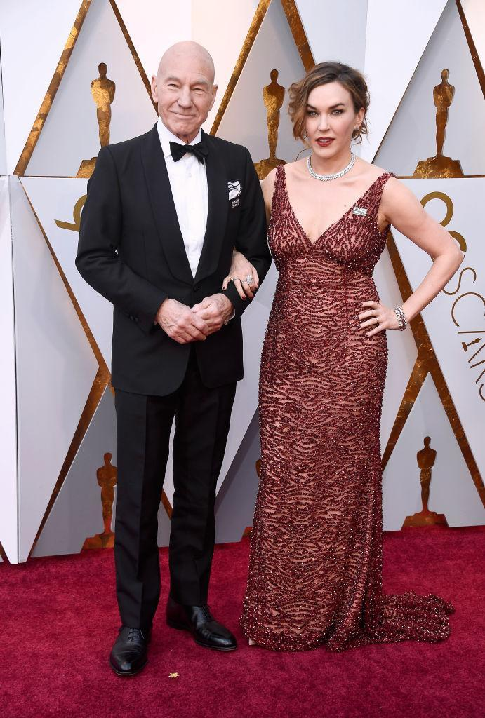 <p>Sir Patrick Stewart arrived for the fete with his wife, the singer Sunny Ozell, on his arm. (Photo: Getty Images) </p>