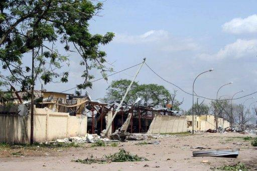 The damaged Mpila military barracks is seen after a series of explosions killed 146 people