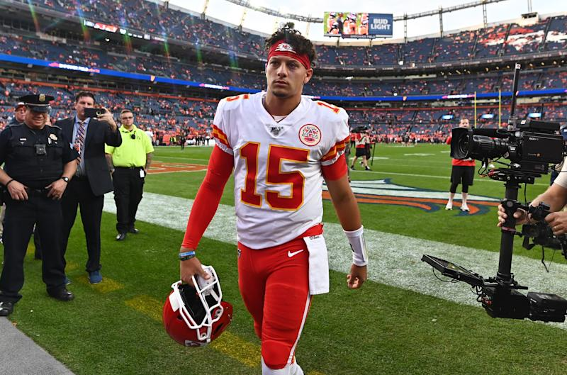 Oct 17, 2019; Denver, CO, USA; Kansas City Chiefs quarterback Patrick Mahomes (15) before the game against the Denver Broncos at Empower Field at Mile High. Mandatory Credit: Ron Chenoy-USA TODAY Sports