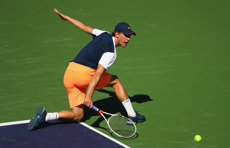 Dominic Thiem of Austria plays a backhand against Mischa Zverev of Germany, in Indian Wells, California, on March 13, 2017