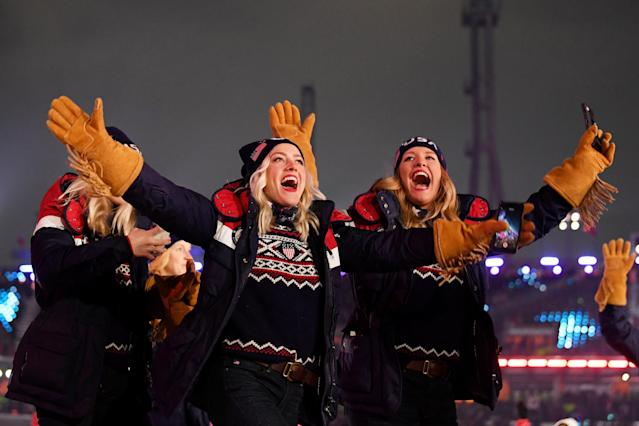 Team USA athletes attend the Opening Ceremony of the PyeongChang 2018 Winter Olympic Games. (Getty)