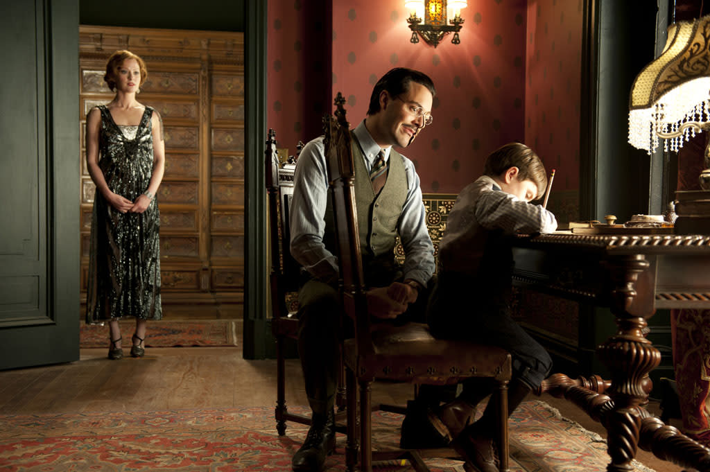 "Gretchen Mol as Gillian Darmody, Jack Huston as Richard Harrow and Brady Noon as Tommy Darmody in Season 3 of ""Boardwalk Empire"" on HBO."