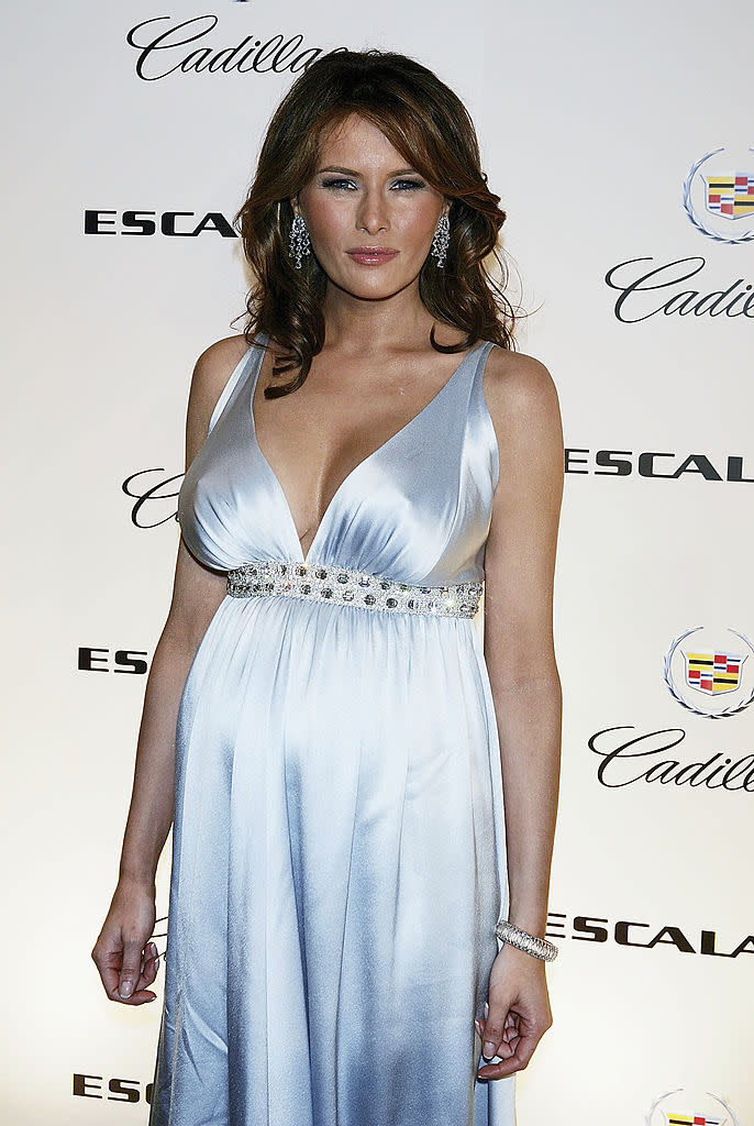 Melania Trump in 2005, looking stunning while pregnant with son Barron.