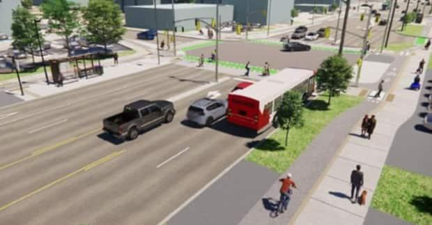 The City of Ottawa has proposed a redesign of Montreal Road and Blair Road in Ottawa's east end to improve cycling and transit. (City of Ottawa - image credit)