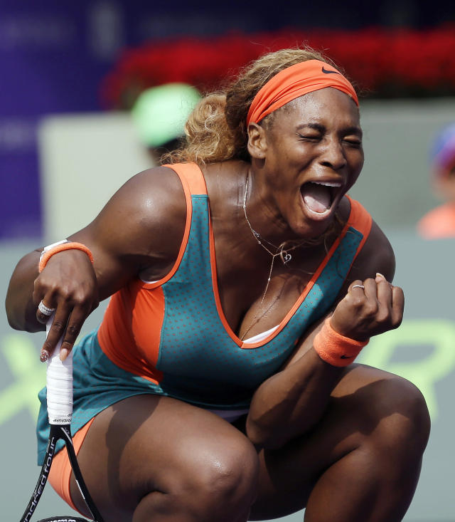 10ThingstoSeeSports - Serena Williams celebrates after scoring a point against Caroline Garcia, of France, at the Sony Open tennis tournament in Key Biscayne, Fla., Saturday, March 22, 2014. Williams won 6-4, 4-6, 6-4. (AP Photo/Alan Diaz, File)