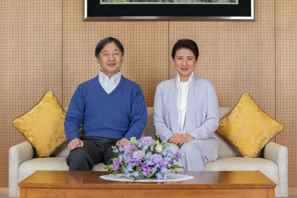 In this photo provided on Feb. 18, 2021, by the Imperial Household Agency of Japan, Japan's Emperor Naruhito, left, and Empress Masako pose for a photo at Akasaka Palace in Tokyo on Feb. 2, 2021. Naruhito celebrated 61st birthday on Tuesday, Feb. 23, 2021. (The Imperial Household Agency of Japan via AP)