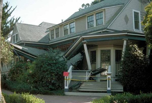 A house remains intact, though its porch collapsed, following the 1989 Loma Prieta earthquake in Northern California. Experts say it's safer to stay in place during an earthquake.