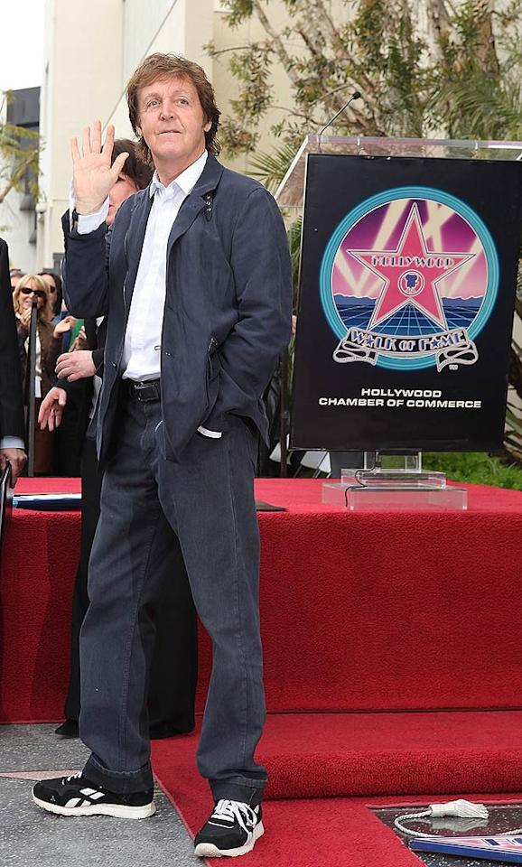 """Sir Paul McCartney attended the ceremony honoring the late George Harrison, his Beatles bandmate, with a star on the Hollywood Walk of Fame on Tuesday. Vince Bucci/<a href=""""http://www.gettyimages.com/"""" target=""""new"""">GettyImages.com</a> - April 14, 2009"""